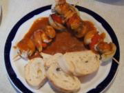 Putenfleisch-Gemüse-Spieße mit pikanter Sauce - Rezept - Bild Nr. 2