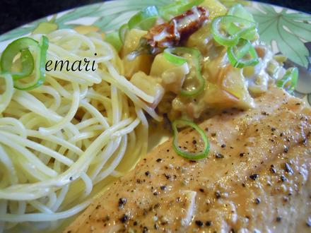 Lachsforellenfilet mit Pasta in Pfirsich - Salsa - Sauce - Rezept - Bild Nr. 3639