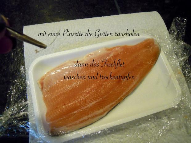 Lachsforellenfilet mit Pasta in Pfirsich - Salsa - Sauce - Rezept - Bild Nr. 3640