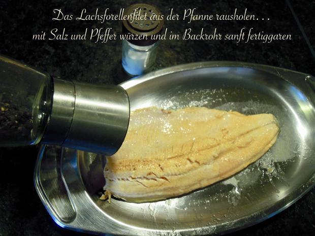 Lachsforellenfilet mit Pasta in Pfirsich - Salsa - Sauce - Rezept - Bild Nr. 3643