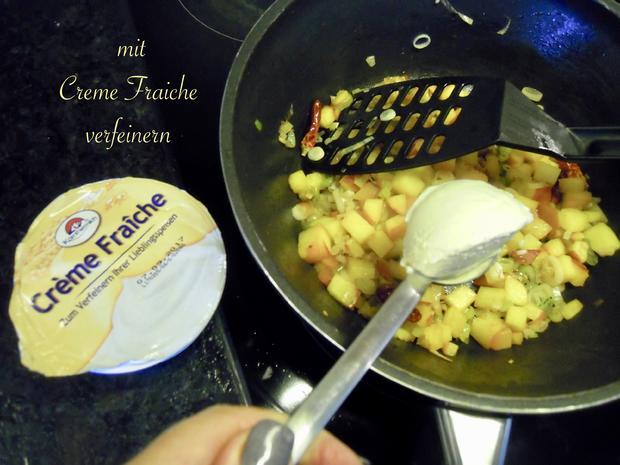 Lachsforellenfilet mit Pasta in Pfirsich - Salsa - Sauce - Rezept - Bild Nr. 3649