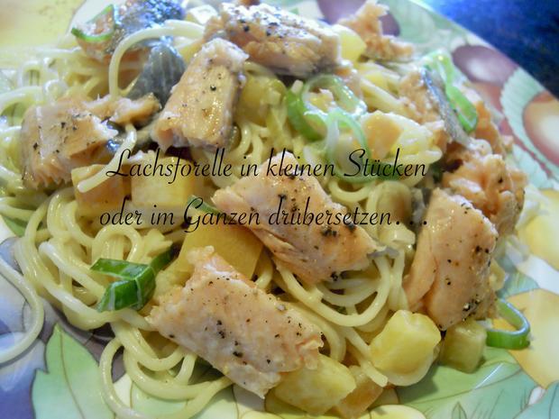 Lachsforellenfilet mit Pasta in Pfirsich - Salsa - Sauce - Rezept - Bild Nr. 3652