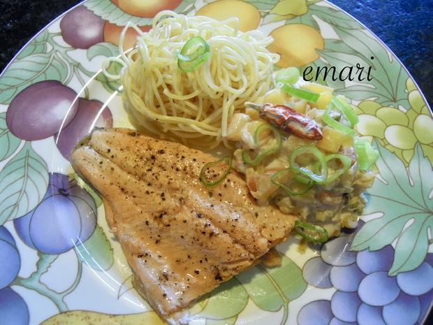 Lachsforellenfilet mit Pasta in Pfirsich - Salsa - Sauce - Rezept - Bild Nr. 3653