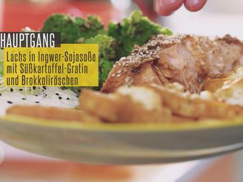 Lachsfilet in Soja-Ingwersoße mit indisch gewürztem Brokkoli und Joghurt-Zitronendip - Rezept - Bild Nr. 2