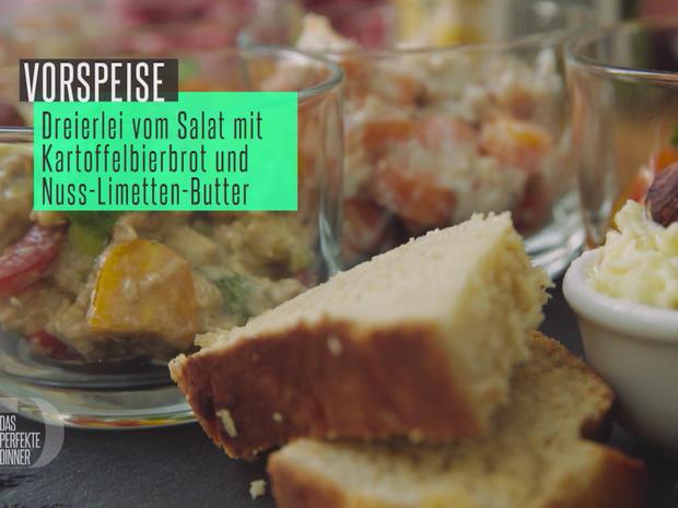 Dreierlei vom Salat mit selbstgebackenem Bierbrot und Nuss-Limetten-Butter - Rezept - Bild Nr. 2