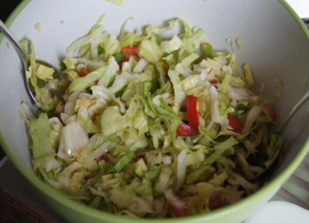 Würstchen-Gemüse-Spieße mit Curry-Rahm-Sauce, Reis und gemischten Salat - Rezept - Bild Nr. 6