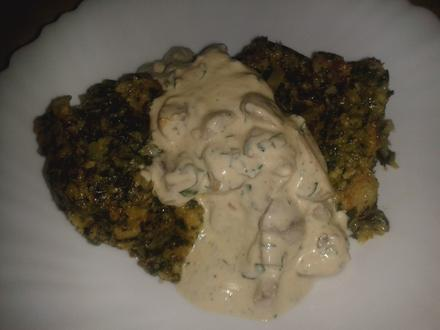 Spinat-Pudding mit Champignon-Petersilien-Schmand - Rezept - Bild Nr. 3703