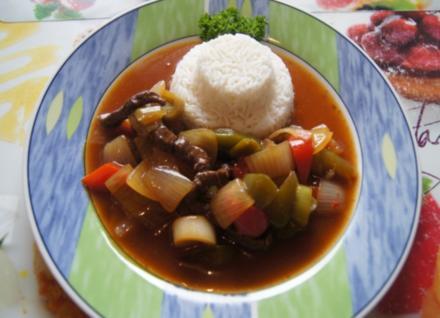 Rindfleischstreifen mit Gemüse im Wok und Basmati Reis - Rezept - Bild Nr. 3785