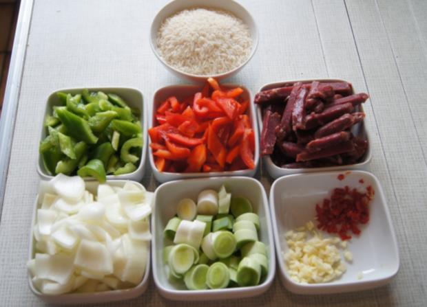 Rindfleischstreifen mit Gemüse im Wok und Basmati Reis - Rezept - Bild Nr. 3788
