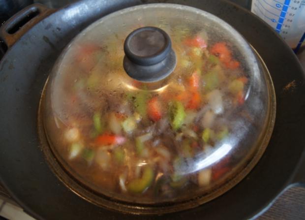 Rindfleischstreifen mit Gemüse im Wok und Basmati Reis - Rezept - Bild Nr. 3797