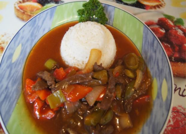 Rindfleischstreifen mit Gemüse im Wok und Basmati Reis - Rezept - Bild Nr. 3800