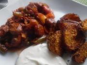 Scharfe Chorizo-Pfanne mit Parmesan-Kartoffelspalten und Sour Creme - Rezept - Bild Nr. 3787