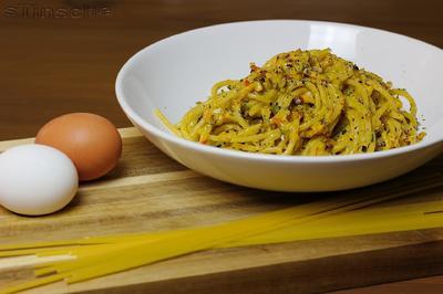 Rezept: Spaghetti mit Kürbis-Sahnesoße und Speck