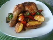Hähnchenschenkel auf Ofengemüse - Rezept - Bild Nr. 2
