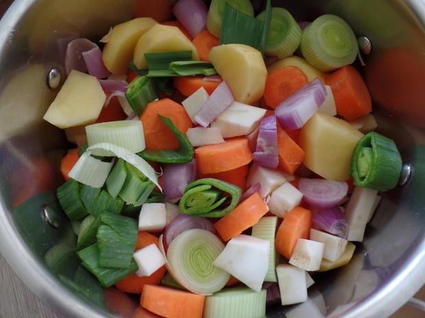 Kartoffel-Käse-Suppe mit Tomaten und Oliven on Top - Rezept - Bild Nr. 3822