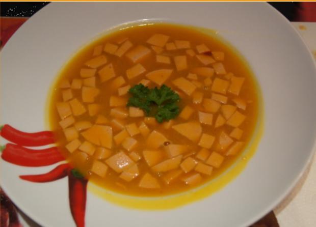 Kürbissuppe mit Ingwer und Schinkenfleischwurst - Rezept - Bild Nr. 3825