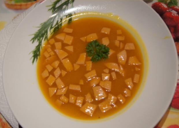 Kürbissuppe mit Ingwer und Schinkenfleischwurst - Rezept - Bild Nr. 3839