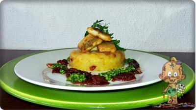 Zander auf Kartoffelbett mit Rotezwiebelmarmelade & Rucola-Pesto - Rezept - Bild Nr. 3825