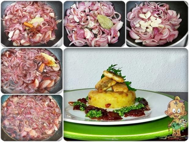 Zander auf Kartoffelbett mit Rotezwiebelmarmelade & Rucola-Pesto - Rezept - Bild Nr. 3831