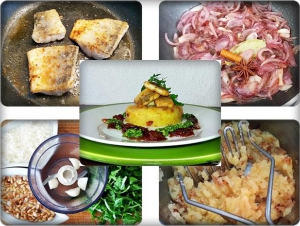 Zander auf Kartoffelbett mit Rotezwiebelmarmelade & Rucola-Pesto - Rezept - Bild Nr. 3843