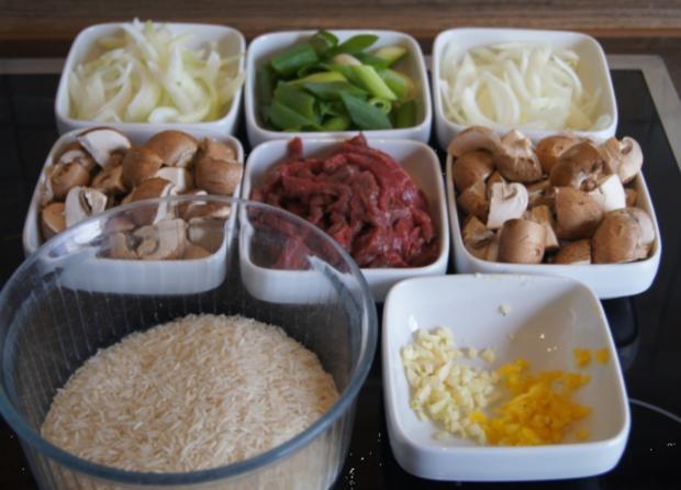 Rindfleisch mit Champignons und Zwiebeln in Austersauce mit Basmatireis - Rezept - Bild Nr. 3827
