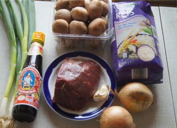 Rindfleisch mit Champignons und Zwiebeln in Austersauce mit Basmatireis - Rezept - Bild Nr. 3838