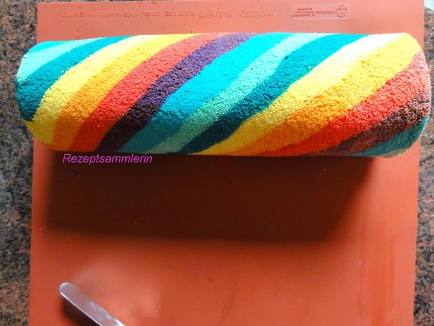 Biskuit:   REGENBOGEN ~ ROLL ~ CAKE - Rezept - Bild Nr. 4046