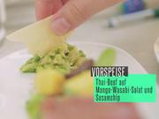 Thai-Beef auf Mango-Wasabi-Salat und Sesamchip - Rezept - Bild Nr. 2