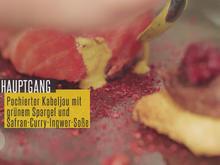 Poschierter Kabeljau mit grünem Spargel und Safran-Curry-Ingwer - Rezept - Bild Nr. 2