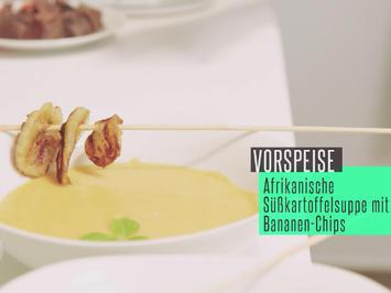 Rezept: Afrikanische Süßkartoffel-Kokos-Suppe mit frittierten Bananenscheiben