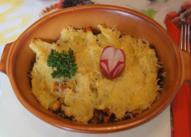 Überbackenes Rinder-Gemüse-Hackfleisch mit Kartoffelstampf - Rezept - Bild Nr. 4343