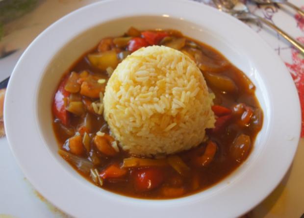 Süß-saures Gemüse-Garnelen-Curry mit Curry-Reis - Rezept - Bild Nr. 4365