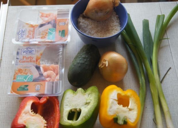 Süß-saures Gemüse-Garnelen-Curry mit Curry-Reis - Rezept - Bild Nr. 4366