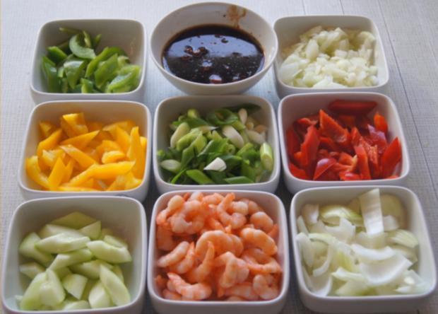 Süß-saures Gemüse-Garnelen-Curry mit Curry-Reis - Rezept - Bild Nr. 4367