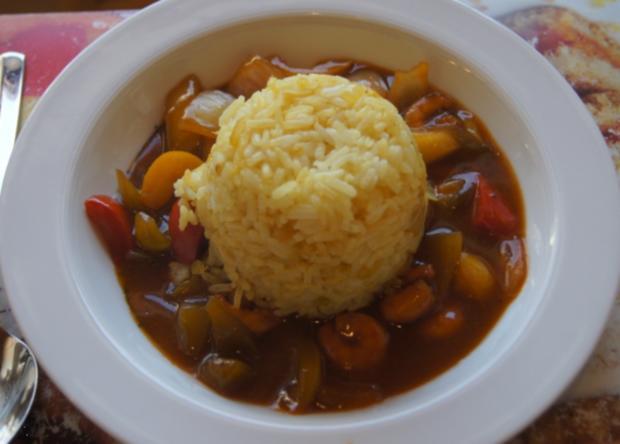 Süß-saures Gemüse-Garnelen-Curry mit Curry-Reis - Rezept - Bild Nr. 4379