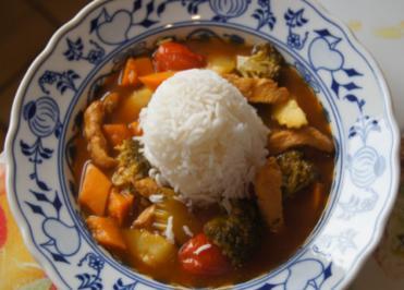 Kürbis-Gemüse-Hähnchenbrustfilet-Wok süß-sauer mit Basmatireis - Rezept - Bild Nr. 4411