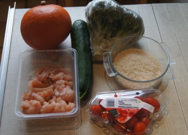 Kürbis-Gemüse-Hähnchenbrustfilet-Wok süß-sauer mit Basmatireis - Rezept - Bild Nr. 4412