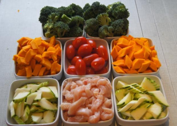 Kürbis-Gemüse-Hähnchenbrustfilet-Wok süß-sauer mit Basmatireis - Rezept - Bild Nr. 4416