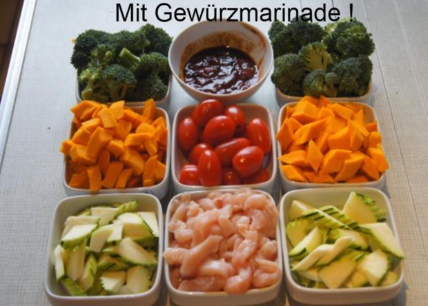 Kürbis-Gemüse-Hähnchenbrustfilet-Wok süß-sauer mit Basmatireis - Rezept - Bild Nr. 4417