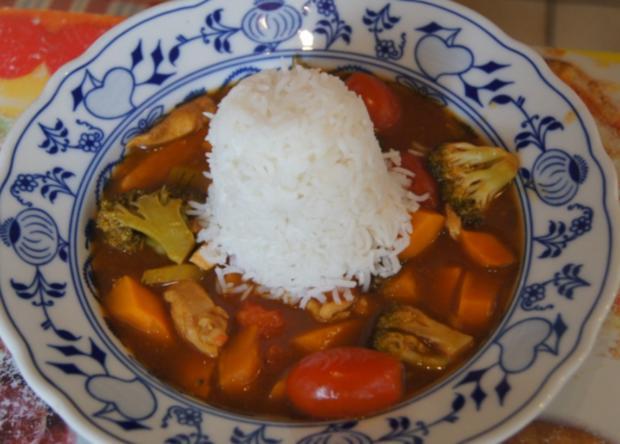 Kürbis-Gemüse-Hähnchenbrustfilet-Wok süß-sauer mit Basmatireis - Rezept - Bild Nr. 4426