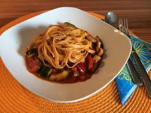 Chili Nudeln mit Gemüse auf italienische Art, leicht scharf - Rezept - Bild Nr. 4432