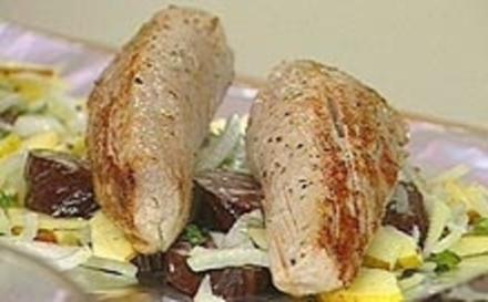 Schweinefilet mit Zwiebel, Apfel und Blutwurst - Rezept