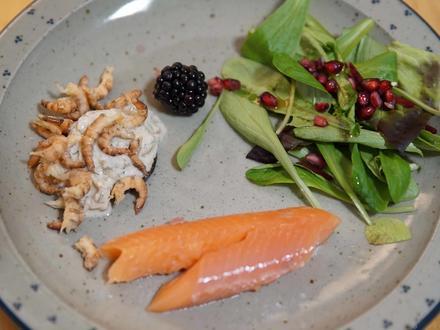 Geräucherte Forelle an Salat, mit einem Pumpernickel und selbst gepulten Nordseekrabben - Rezept - Bild Nr. 4442