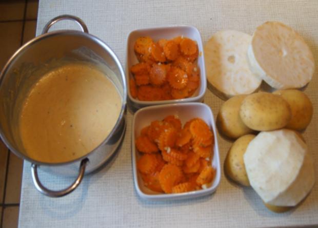 Sellerieschnitzel mit Sellerie-Kartoffelstampf und Möhrenblüten-Antipasta - Rezept - Bild Nr. 4476
