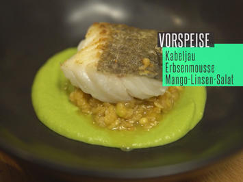 Kabeljau an Erbsencreme, Mango-Linsen-Salat und Passionsfruchtkaviar - Rezept - Bild Nr. 2