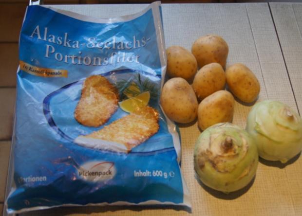 Alaska-Seelachs-Filet mit Rahm-Kohlrabi und Ofenkartoffeln - Rezept - Bild Nr. 4498