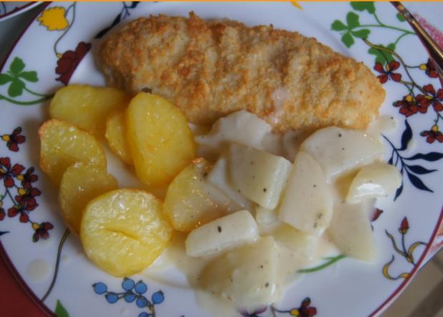 Alaska-Seelachs-Filet mit Rahm-Kohlrabi und Ofenkartoffeln - Rezept - Bild Nr. 4515