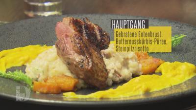 Gebratene Entenbrust mit Thymian-Honig-Lack, Butternusskürbis & Steinpilzrisotto - Rezept - Bild Nr. 4574