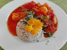 Reis mit Walnüssen an Tomaten - Gemüse - Pfanne - Rezept - Bild Nr. 4625