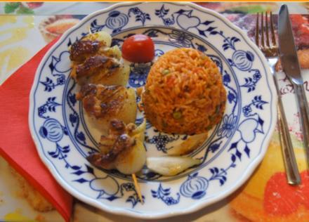 Schweinefiletspieße mit Zwiebeln und Djuvec-Reis - Rezept - Bild Nr. 4645
